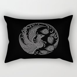 Traditional Gray and Black Chinese Phoenix Circle Rectangular Pillow