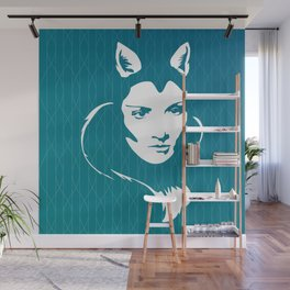 Faces - foxy lady on a teal wavey background Wall Mural