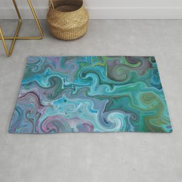 Amazon Currents - Abstract Acrylic Art by Fluid Nature Rug