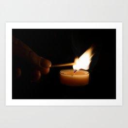 A candlelight dinner Art Print