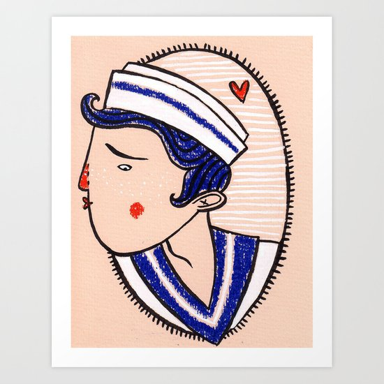 ...and her sailor lover Art Print