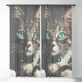 cat turquoise eyes vector art Sheer Curtain