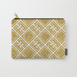 Gold Glitter Greek Pattern Carry-All Pouch