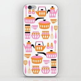 My Midcentury Modern Kitchen In Pink And Tangerine iPhone Skin
