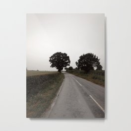 misty road in derbyshire Metal Print