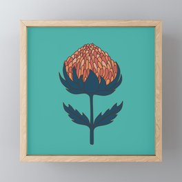Abstract Australian Banksia Flower Pattern on teal Framed Mini Art Print