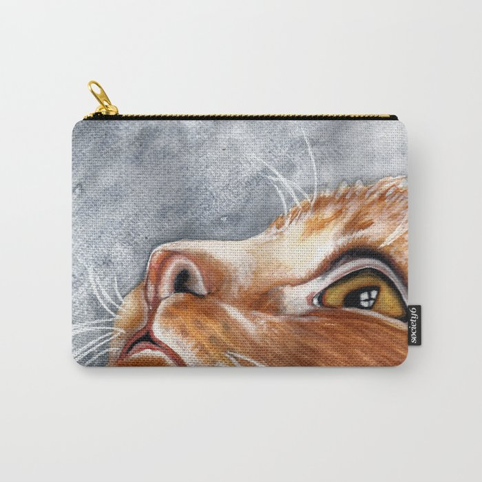 Ginger Cat Watercolour Painting Carry-All Pouch by scarletwild