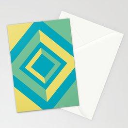 Aqua Green Yellow Diamond Minimal Illustration 2021 Color of the Year AI Aqua and Accent Shades Stationery Cards