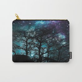 Black Trees Teal Violet space Carry-All Pouch