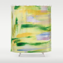 Blooming orchard: minimal, acrylic abstract painting in spring green and yellow / Variation Eight Shower Curtain