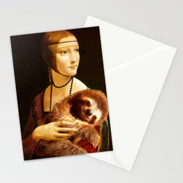 Lady with a Sloth Stationery Cards