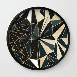 New Art Deco Geometric Pattern - Emerald green and Gold Wall Clock
