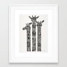 Black Giraffes Framed Art Print