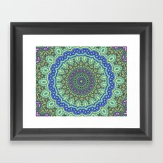 Lovely Healing Mandala  in Brilliant Colors: Purple, Black, Gold, Mint, and Sunset Yellow Framed Art Print