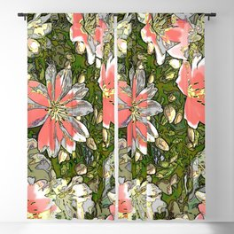 Painted flowers blushing Blackout Curtain