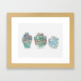 A GROUP OF TWO WUCAI JARS AND A BLUE AND WHITE JAR MING DYNASTY, 16TH-17TH CENTURY watercolor by Ahm Framed Art Print