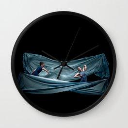 Dancing in rough blue waters Wall Clock
