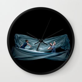 Dancing in rough blue waters Wall Clock