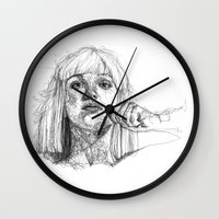 sia Wall Clocks featuring Sia Scribbles (Pen Art) by Aeriz85