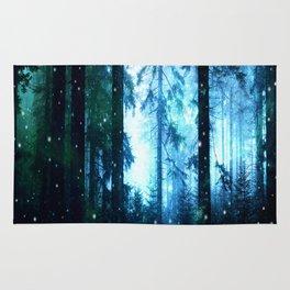 Fireflies Night Forest Rug