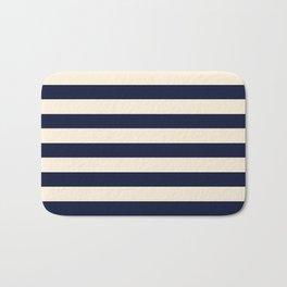 Navy Ivory Bold Stripes Bath Mat