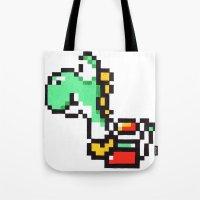 yoshi Tote Bags featuring yoshi by Walter Melon