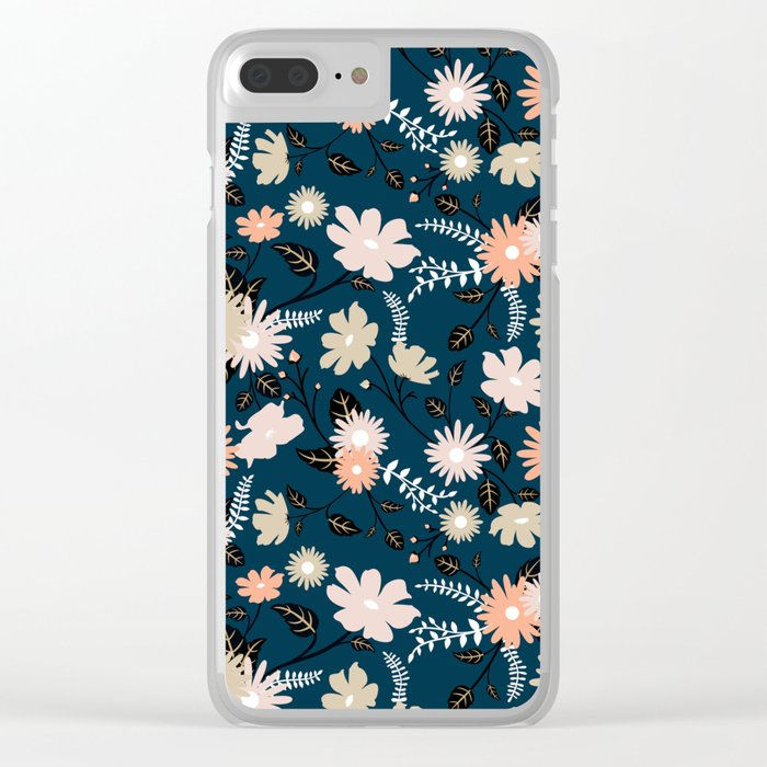 Marseille - Floral Pattern Clear iPhone Case