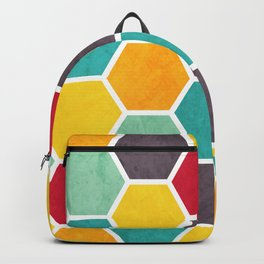 Multicoloured Beehive Geometric Textured Digital Pattern Backpack