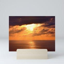 ocean sunset skyline clouds santa catarina brazil Mini Art Print