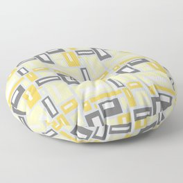 Simple Geometric Pattern in Yellow and Gray Floor Pillow