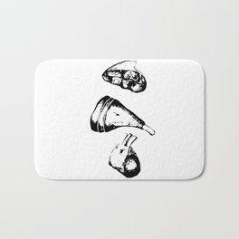 A piece of meat, black and white mascara Bath Mat