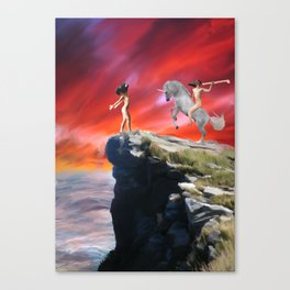 lady werewolf and the horseman Canvas Print