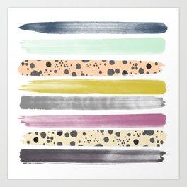 Watercolor Stripes I Art Print