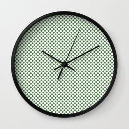 Hippie Green Polka Dots Wall Clock