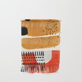 Mid Century Modern Abstract Minimalist Retro Vintage Style Fun Playful Ochre Yellow Ochre Orange  Wall Hanging