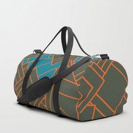 Abstract geometric teal, grey, orange, squares Duffle Bag
