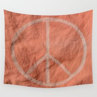 tote bag Wall Tapestries featuring Peach Peace Sign (Bag Art) by Aries Art