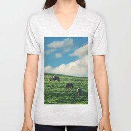 Horses on the Hill Unisex V-Neck