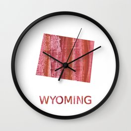Wyoming map outline Indian red stained wash drawing Wall Clock