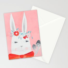 white rabbit with flowers, mushrooms & bow in pink watercolor Stationery Cards