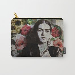 Frida Kahlo skulls and flowers Carry-All Pouch