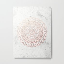 Rose gold mandala and grey marble Metal Print