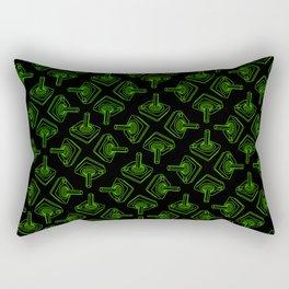 Atari 2600 Joystick Pattern in Green and Black Rectangular Pillow