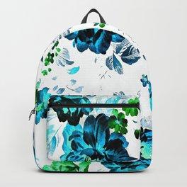 ROSES ROSES AQUA BLUE TURQUOISE Backpack