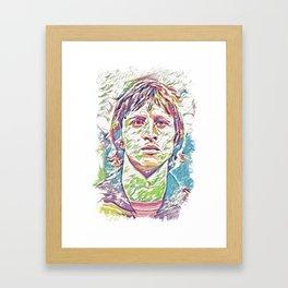 Johan Cruyff Abstract Fan Art Portrait Framed Art Print