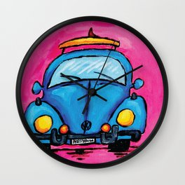Retro VW Surf- Bug in Blue Wall Clock