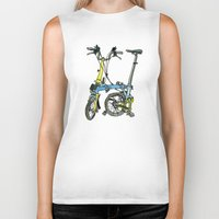 brompton Biker Tanks featuring My brompton standing up by Swasky