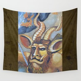 Medieval Demon. MMXIII. Milk Paint on Panel Wall Tapestry