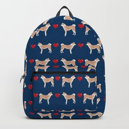 Akita dog breed hearts pet portrait gift for dog lover akitas pet friendly Backpack