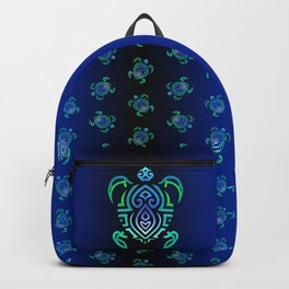 Tribal Turtle Ombre Background Backpack